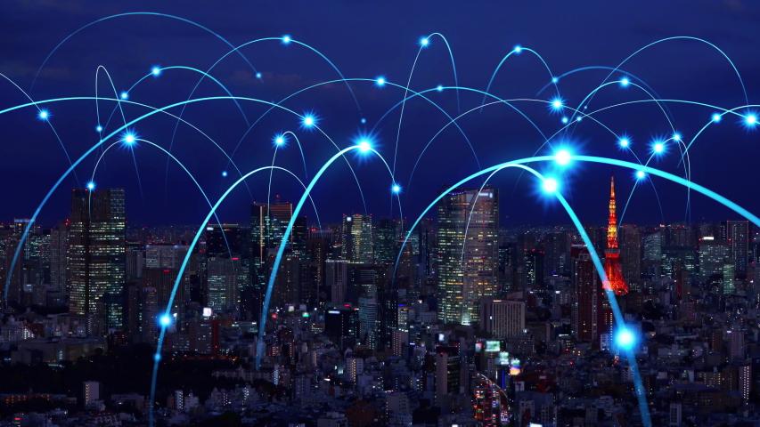 Smart city and communication network concept. 5G. LPWA (Low Power Wide Area). Wireless communication.   Shutterstock HD Video #1041614599