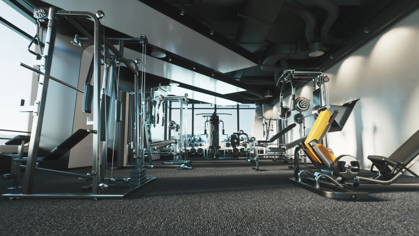 Modern gym interior with equipment Royalty-Free Stock Footage #1041630088