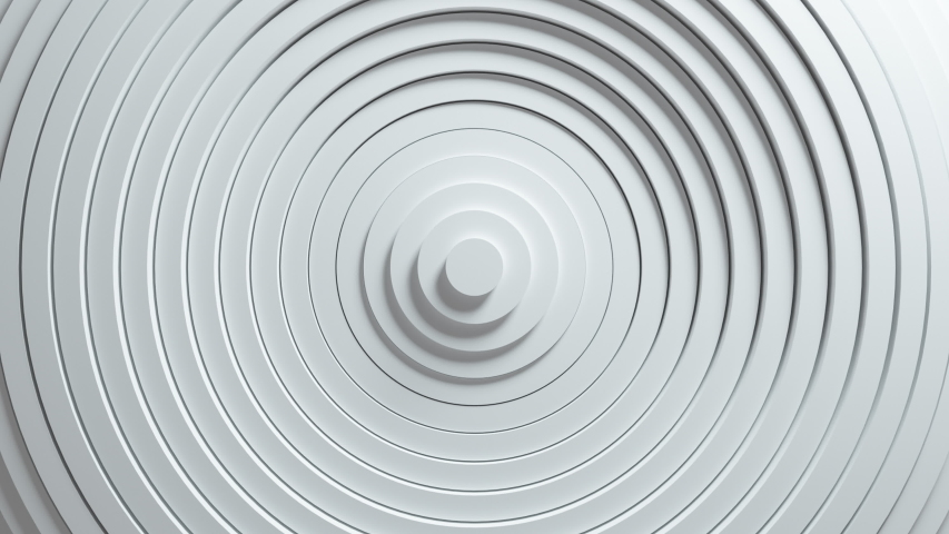 Abstract pattern of circles with the effect of displacement. White clean rings animation. Abstract background for business presentation. Seamless loop 4k 3d render