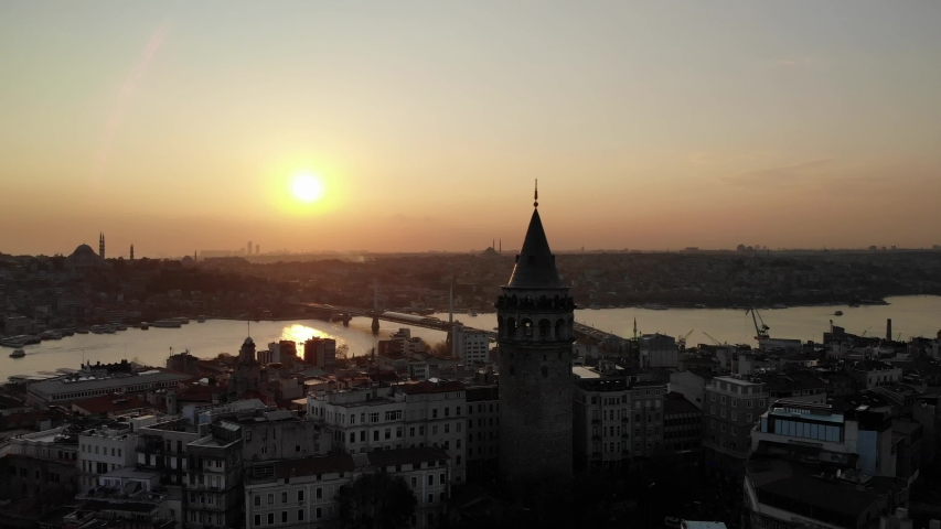 Sunset in İstanbul with Galata tower #1041633394