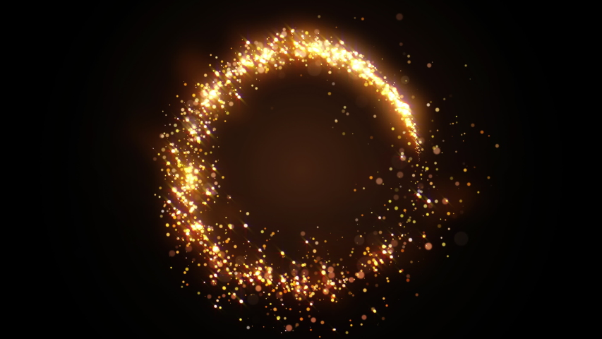 Golden glitter circle with sparkling light. Shining Christmas gold particles and sparkles ring on black background. Luxury magic festive effect with bokeh and glow. Dust trail 3d render in Ultra HD 4K | Shutterstock HD Video #1041642373