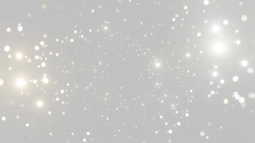 Abstract motion background shining silver particles. Shimmering Glittering Particles With Bokeh. New year and Christmas 2021 background. Seamless 4K loop video