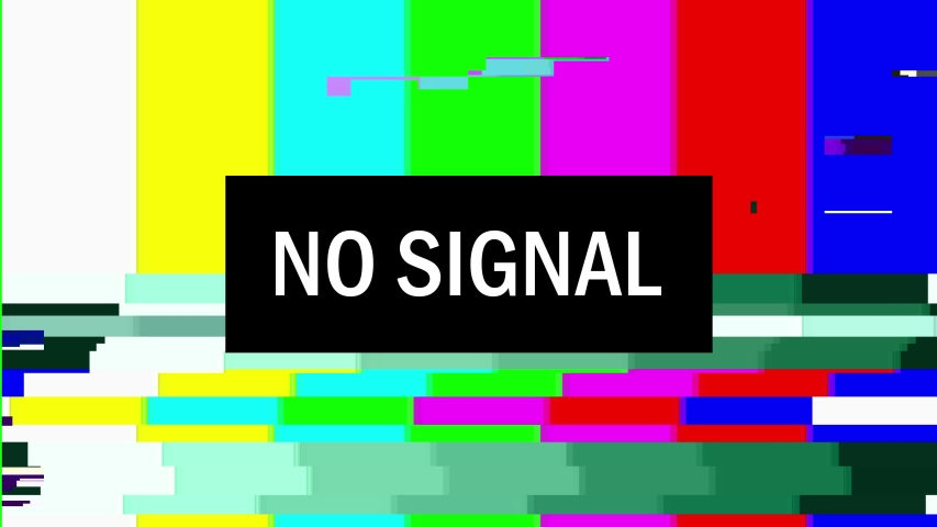 Television screen error. SMPTE color bars technical problems.Color Bars data glitches. Intentional glitch distortion. Test pattern from a tv transmission, with colorful bars, a black box and the warni | Shutterstock HD Video #1041654343