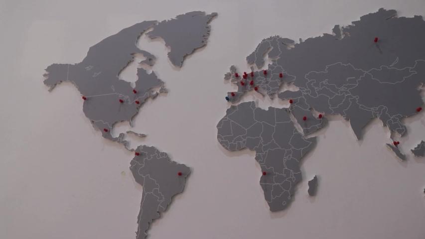 World map on a wall | Shutterstock HD Video #1041658735