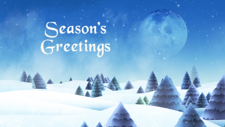 Winter Trees in the Snow with Seasons Greeting and Santa 4K Loop features a camera flying through a winter scene with illustrated pine trees, snow falling, and Santa flying across a full moon in a loop | Shutterstock HD Video #1041666814