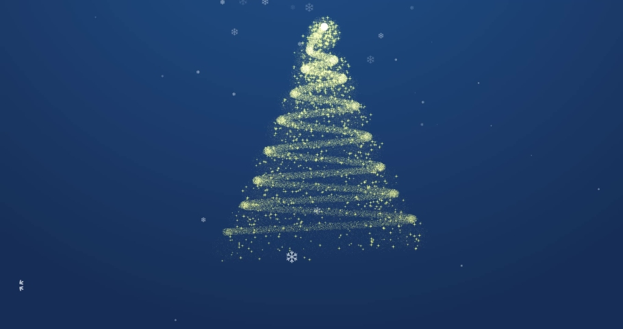 Animated Christmas tree with falling snowflakes on blue gradient background and copyspace, space for text. Christmas tree made of gold animated particles. Christmas mood. Glittering effect | Shutterstock HD Video #1041667093