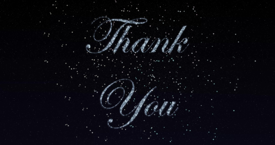 Thank You blinking text greetings card. Abstract blinking sparkle glitter particle looped background with beautiful animated fireworks. 4K | Shutterstock HD Video #1041667615