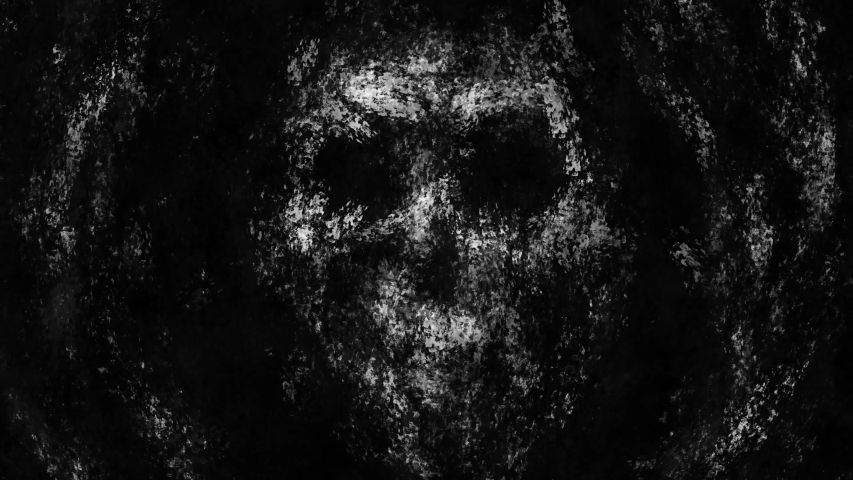 Spooky human face rises from mud and screams drowning. 2D animation horror fantasy genre. Scary animated short film. Gloomy nightmares for Halloween. Video clip in black and white background color. Royalty-Free Stock Footage #1041668107