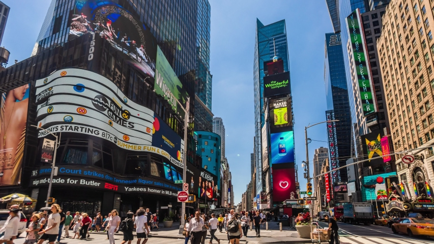Times Square New York City Daytime Timelapse. High dynamic range 4K super fine timelapse by raw photo files. Crazy busy people, traffic and LED walls of advertisements.