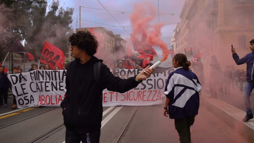"Rome,Italy,november 9 2019: young people protesting against ""Security Decree"" 