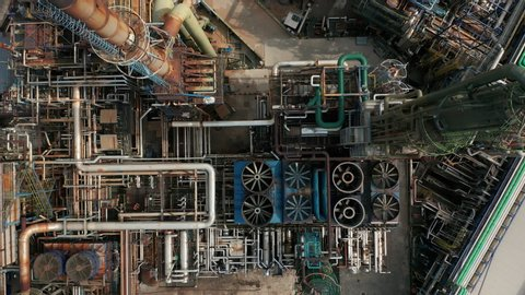 Aerial top down view over oil refinery or chemical factory