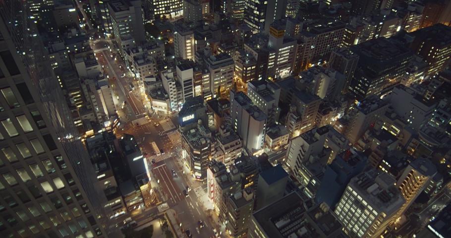 Tokyo, Japan - October 16, 2019:Night scene of Tokyo city. Urban night with thousands of lights. Flourishing nightscape. | Shutterstock HD Video #1041710173