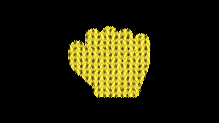 Symbol hand fist is knitted from a woolen thread. Knit like a sweater | Shutterstock HD Video #1041719074