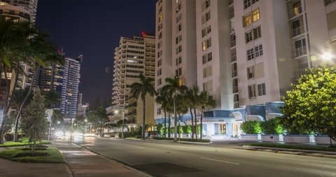 4k Night Time Lapse Miami Beach With Traffic Car Lights