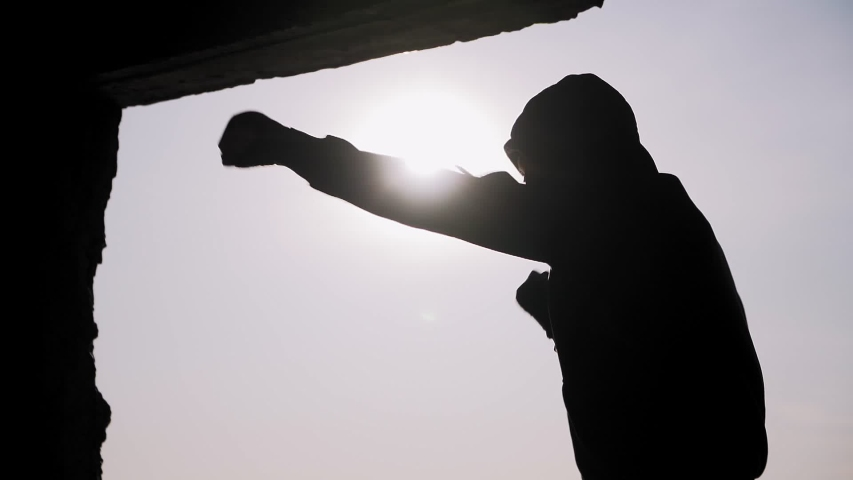 Silhouette of a boxer on a sunset background. Coaches punches. Shadow-boxing. Outdoor workout. Motivational video.  | Shutterstock HD Video #1041727483