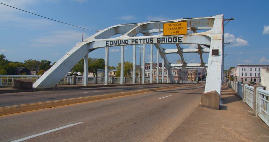 Montgomery, Alabama / USA - August 29, 2019: Establishing, Edmund Pettus Bridge From Selma to Montgomery Alabama