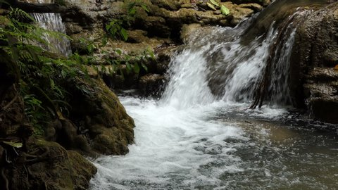 fresh waterfall , close up stream in forest
