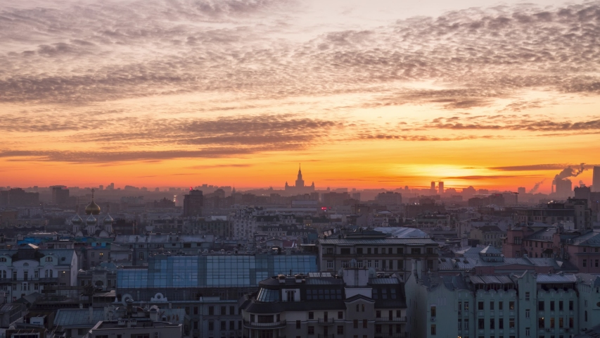 Beautiful winter sunset time lapse in moscow russia