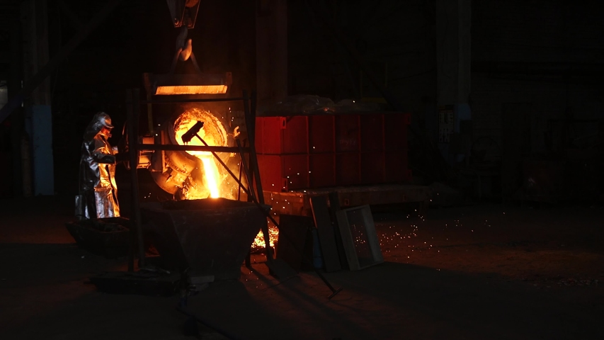 Iron And Steel Works. Pouring Of Molten Iron. metal industry, molten metal, glowing steel, industry, molten steel, melting steel, metallurgical plant, red-hot metal, manufacturing, hot metal