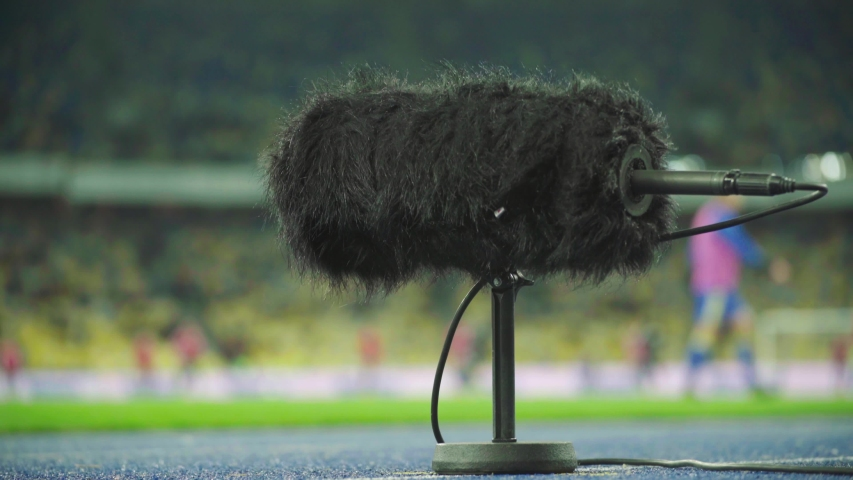 Professional stadium microphone records sound. Close-up | Shutterstock HD Video #1041803011