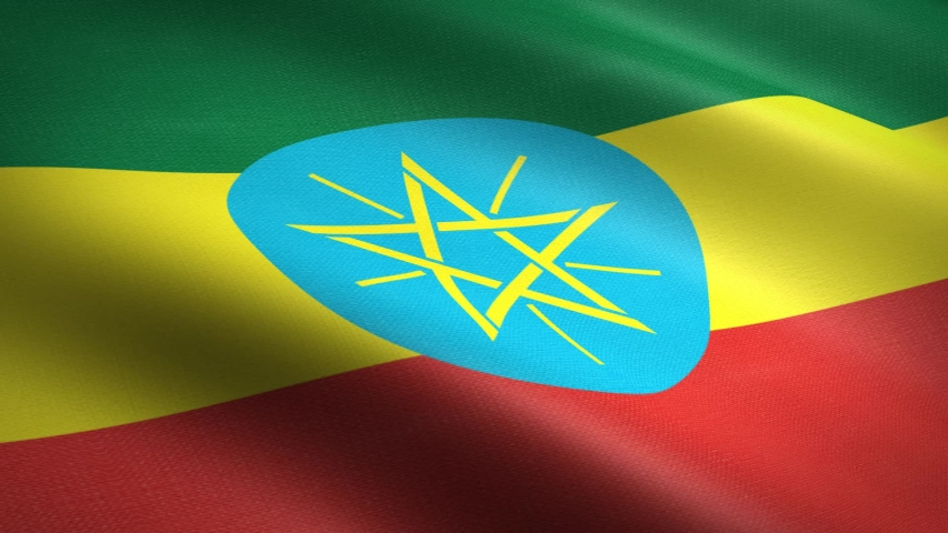 Flag of Ethiopia. Waving flag with highly detailed fabric texture seamless loopable video. Seamless loop with highly detailed fabric texture. Loop ready in HD resolution 1080p 60fps | Shutterstock HD Video #1041812260