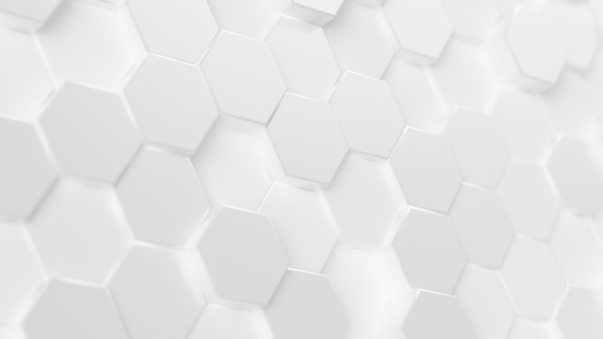 Abstract Hexagon Geometric Surface Loop 5 White: light minimal hexagonal grid pattern animation in modern clean white. Clean background with glossy white hexagon shapes. Soft look. Clean feel. 4K
