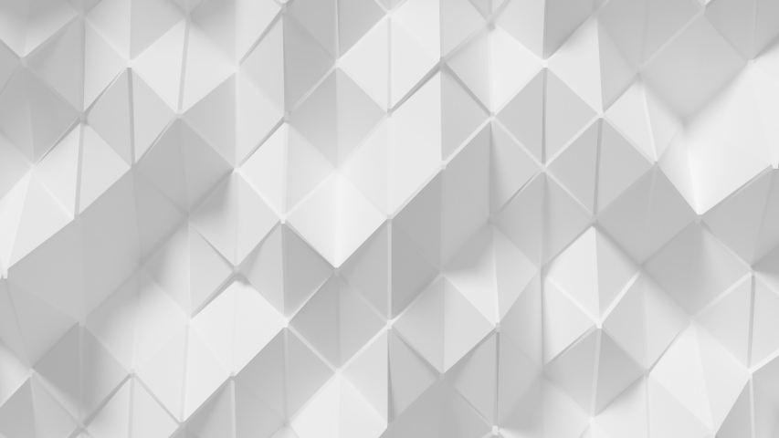 Abstract Polygonal Geometric Surface Loop 7 White: elegant, smooth animation of a triangular polygon mesh in porcelain white. Clean low poly motion background. Minimal white 3D animation. 4K  | Shutterstock HD Video #1041816892