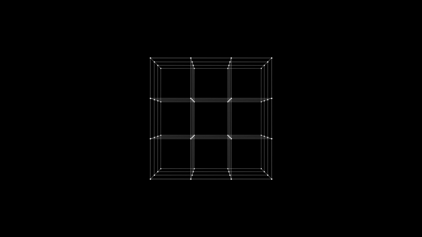 Rotating cube HUD element. Plexus style connecting lines and dots. Seamless loop | Shutterstock HD Video #1041817771