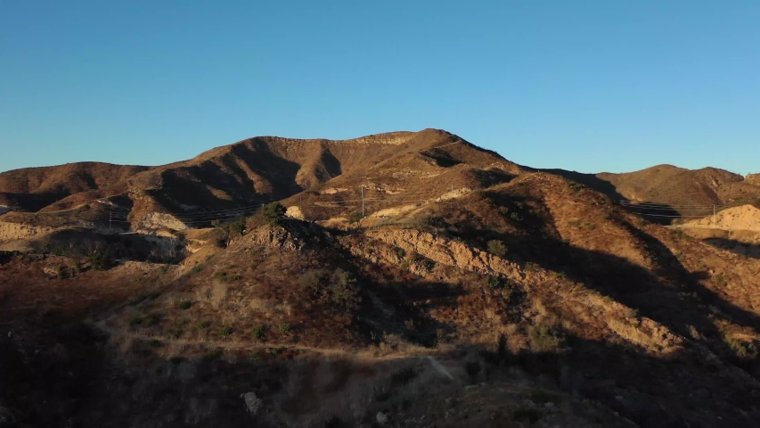 Spectacular aerial video of Malibu Creek State Park, California, at sunset, drone 4k footage.