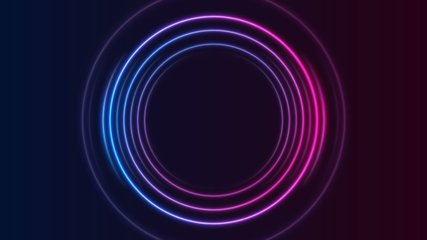 Blue and purple neon circles abstract futuristic hi-tech motion background. Video animation Ultra HD 4K 3840x2160