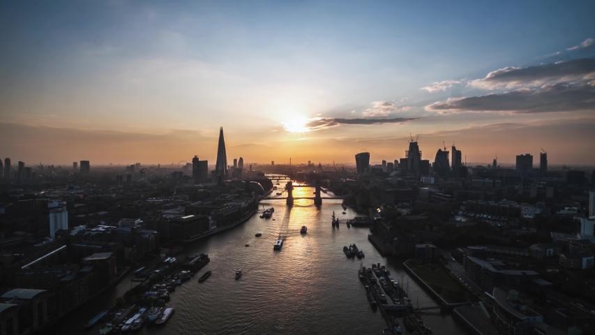 Aerial Hyperlapse Timelapse of London, Tower Bridge, United Kingdom #1041851893
