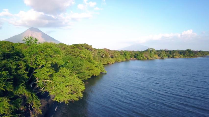 Ometepe Island Volcano Aerial - Drone shot of volcano in nicaragua