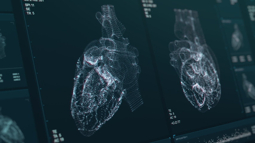 Heart scan screen animation. Blood pressure and heart rate are displayed on a modern and high-tech screen. Health data. Diagnosis of diseases. The future of MRI video. 4K footage with Depth of Field