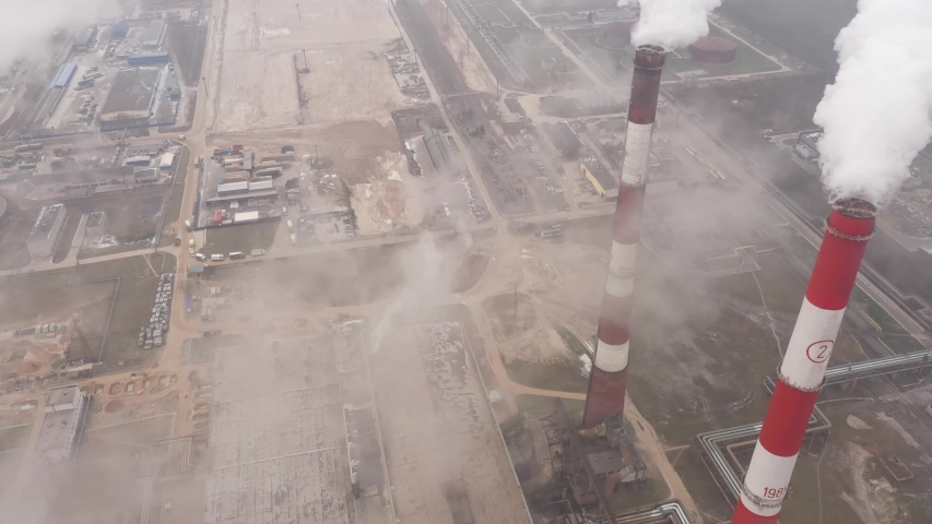 GLOBAL WARMING Pipes Pollute Industry Atmosphere With Smoke Ecology pollution, Industrial factory pollutes, smoke stacks exhaust pipes,Top Industry Sources The World's Polluting Indust. #1041879898