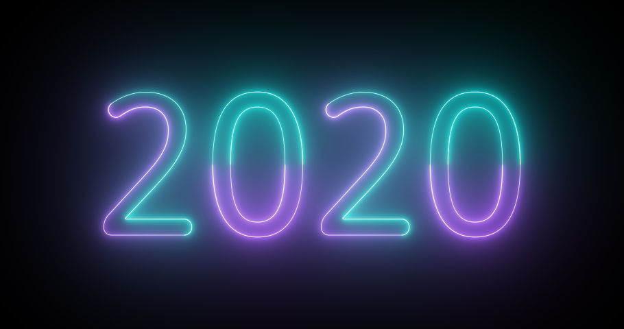 Blue and purple bright neon text 2020. Glowing neon tubes. Seamless loop. 4k video. | Shutterstock HD Video #1041881635