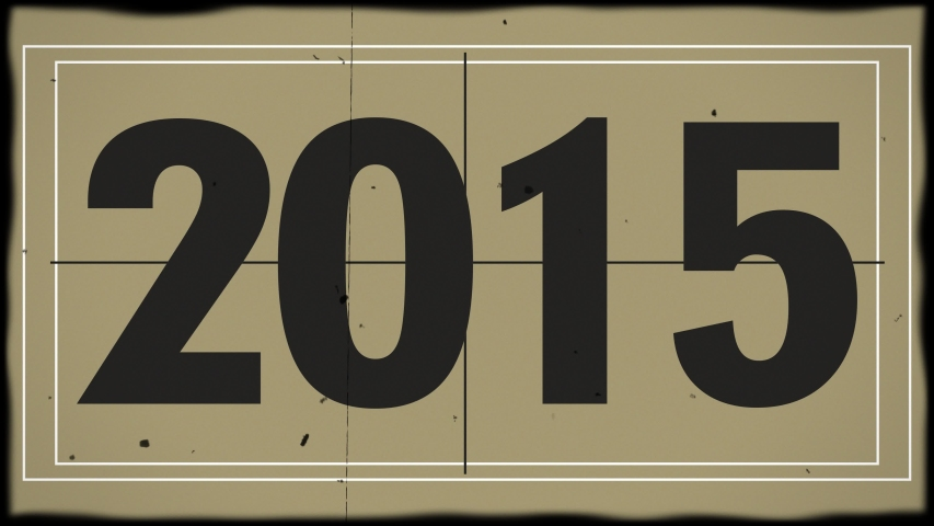 An old retro vintage television count up counts years from 2015 to 2025.