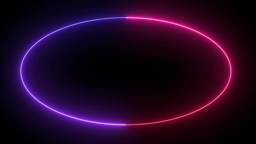 Seamless Looping Oval Lightning Neon Energy Frame Background or Border #1041897469