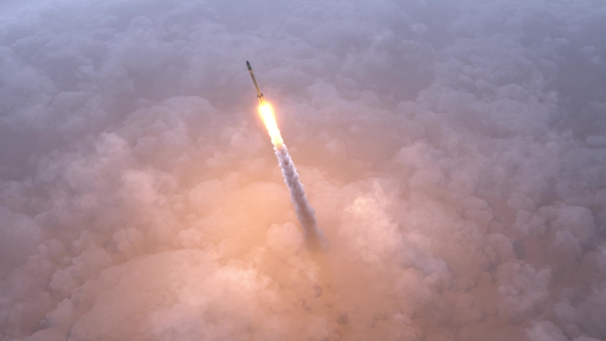 Rocket flies through the clouds to space