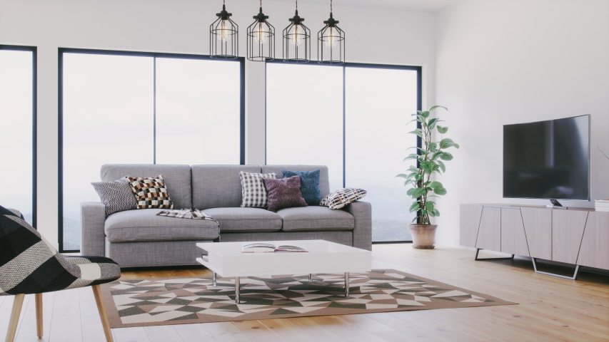 Contemporary Scandinavian Living Room Interior | Shutterstock HD Video #1041906496