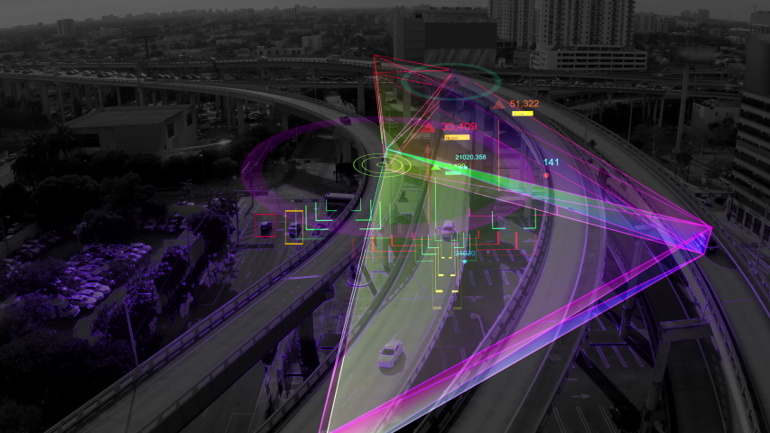 Aerial view of Self Driving cars driving on a highway Futuristic 5G network and technology data communication, Autopilot Autonomous Cars technology concept, Aerial shot with artificial intelligence