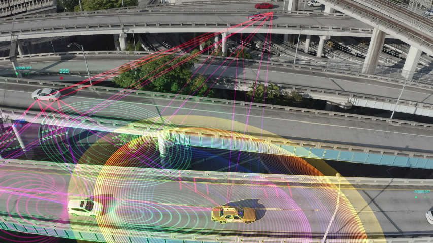 Self driving cars driving on a highway. Aerial view of Autopilot car on free way with technology tracking. Future transportation, Technology concept of traffic surveillance system in highway on sunset | Shutterstock HD Video #1041907171