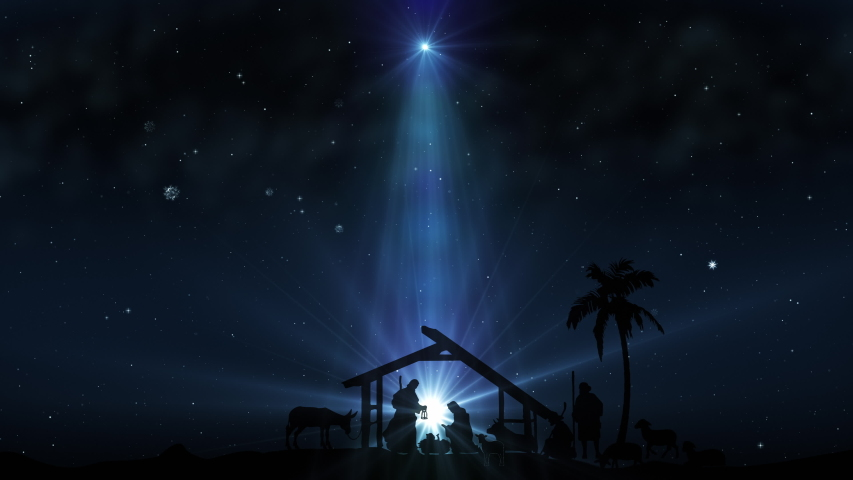 Christmas Scene with twinkling stars and brighter star of Bethlehem with sparkling nativity characters. Seamless Loop with Nativity Christmas story with twinkling stars, and moving wispy clouds. | Shutterstock HD Video #1041931978