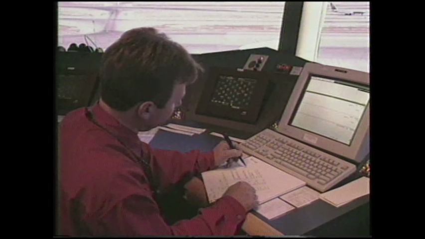 "1990s: People work and speak in air traffic control room. Text reads ""Realism Ratings for LAX Air Traffic Control."" Airplane drawing. 