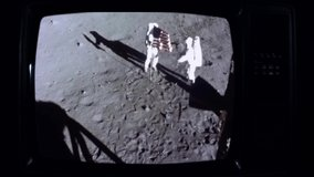 Apollo 11 Moon Landing On a Retro TV. Elements of this Video furnished by NASA.