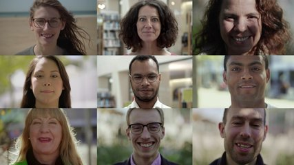 Front view of smiling mixed race people looking at camera. Multiscreen montage, split screen collage. Ethnicity variation concept