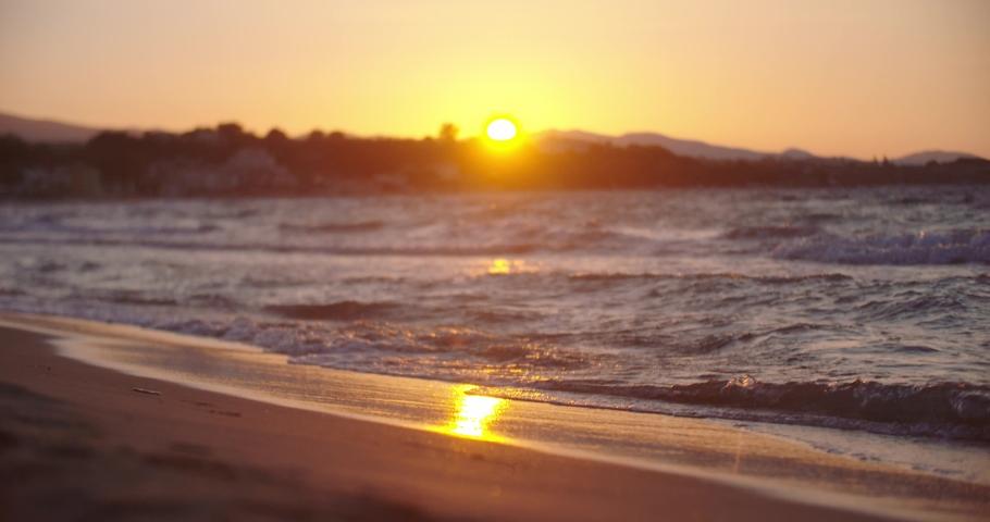 Sea Waves on beach - sunset | Shutterstock HD Video #1041980632
