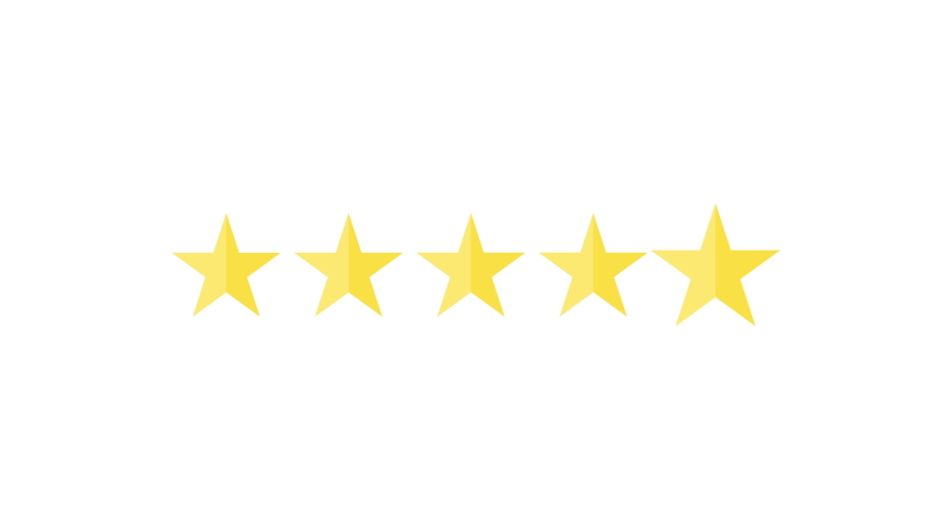 Five Rating Stars Product on white background. Usability Evaluation, Feedback. Motion Graphics. Transparent Background | Shutterstock HD Video #1041986032