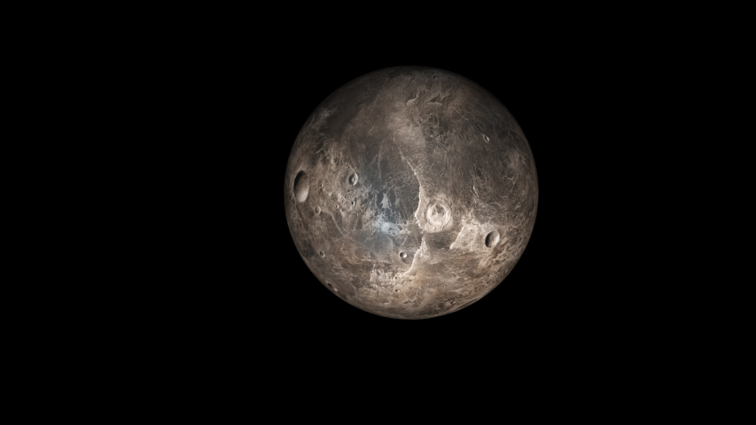 Concept-UR1 View of the Realistic Planet Ceres. Textures planetary maps by Solar System Scope (https://www.solarsystemscope.com/textures/) is licensed under CC BY 4.0   Shutterstock HD Video #1041992809