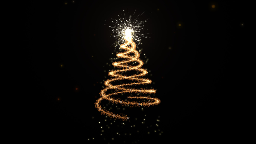 Animated Christmas tree with falling snowflakes . background Christmas tree made of gold animated particles. Christmas mood. | Shutterstock HD Video #1042005139