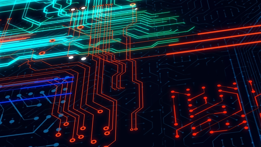 Circuit board background animation. Concept of high tech technology system server.   Shutterstock HD Video #1042008196
